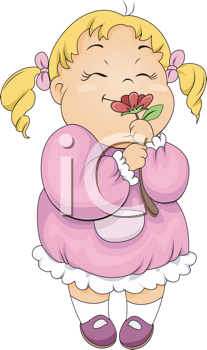 Royalty Free Clipart Image of a Little Girl Smelling a Flower