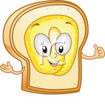 Royalty Free Clipart Image of Bread Giving a Thumbs Up
