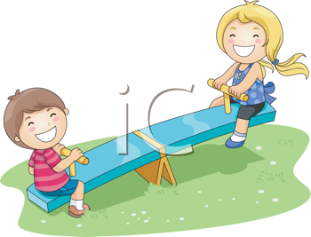 Royalty Free Clipart Image of Children on a Teeter Totter