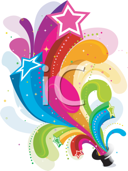 Royalty Free Clipart Image of a Colourful Background of Swirls, and Stars
