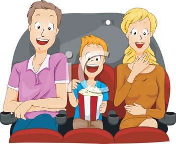 Royalty Free Clipart Image of a Family at the Movies With Popcorn