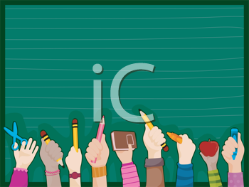 Royalty Free Clipart Image of Students Hands Against a Blackboard