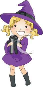 Royalty Free Clipart Image of a Girl in a Purple Witch Costume Carrying a Voodoo Doll