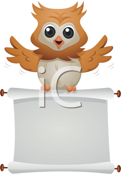 Royalty Free Clipart Image of an Owl With a Blank Scroll