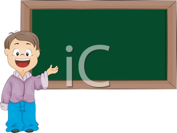 Royalty Free Clipart Image of a Kid at a Chalkboard