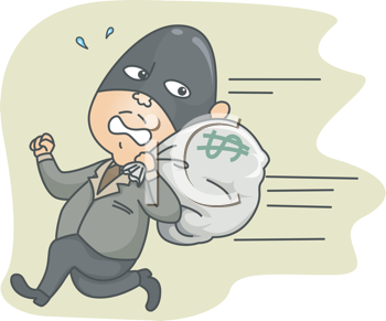 Royalty Free Clipart Image of a Masked Man Running Away With a Bag of Money