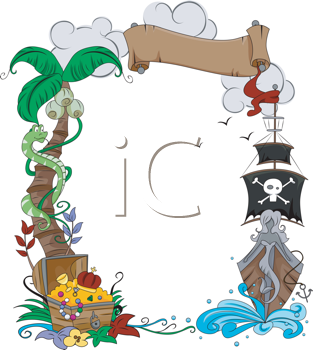 Royalty Free Clipart Image of a Pirate Themed Frame