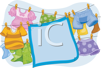 Royalty Free Clipart Image of a Blanket and Children's Clothes Hanging on a Line