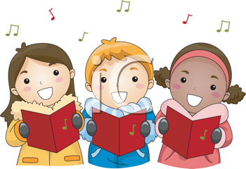 Royalty Free Clipart Image of Carolling Children