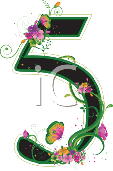 Royalty Free Clipart Image of a Floral Five