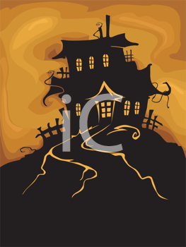 Royalty Free Clipart Image of a Haunted House Silhouette