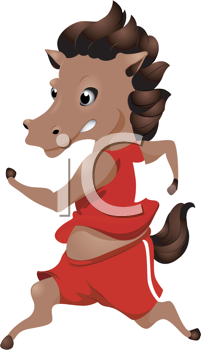 Royalty Free Clipart Image of a Running Horse