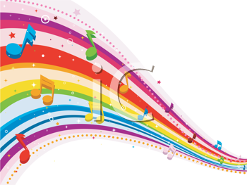 Royalty Free Clipart Image of a Rainbow Design With Musical Notes