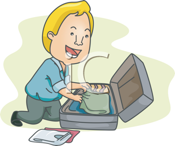 Royalty Free Clipart Image of a Man Packing