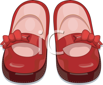 Royalty Free Clipart Image of a Pair of Little Girl's Red Shoes