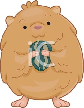 Royalty Free Clipart Image of a Hamster With a Seed