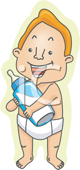 Royalty Free Clipart Image of a Man in Diapers With a Bottle