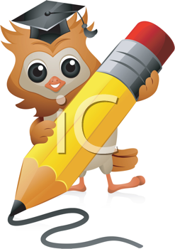Royalty Free Clipart Image of an Owl Scribbling With a Pencil