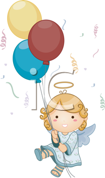 Royalty Free Clipart Image of an Angel Holding Balloons