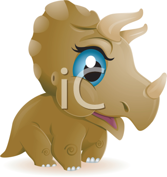 Royalty Free Clipart Image of a Baby Triceratops With Blue Eyes