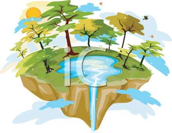 Royalty Free Clipart Image of an Island With a Lake and Waterfall