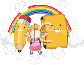 Royalty Free Clipart Image of a Girl With a Rainbow, Pencil and Book