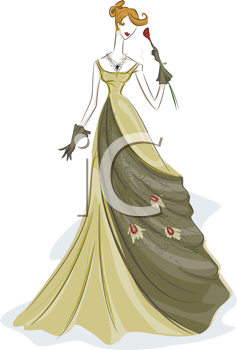 Royalty Free Clipart Image of a Girl in a Gown With a Rose