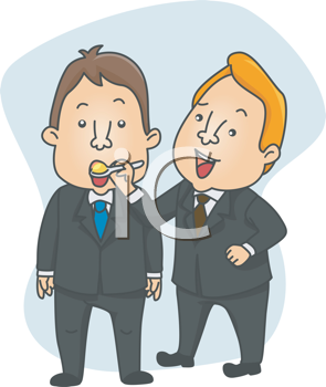 Royalty Free Clipart Image of a Man in a Suit Feeding Another Man in a Suit