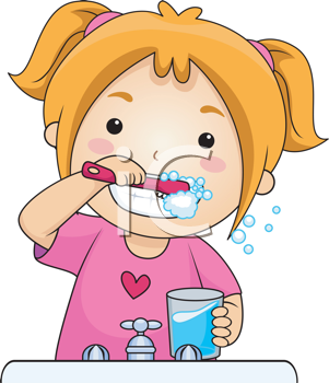 Royalty Free Clipart Image of a Girl Brushing Her Teeth