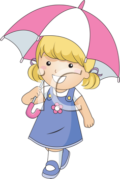 Royalty Free Clipart Image of a Little Girl With an Umbrella