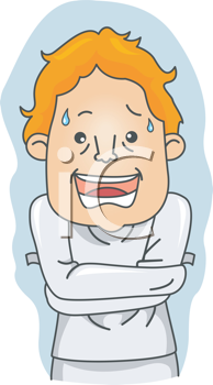 Royalty Free Clipart Image of a Man in a Straitjacket