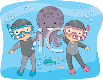 Illustration of an Underwater Scene Featuring Kids Posing with an Octopus