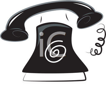 Royalty Free Clipart Image of a Black and White Telephone