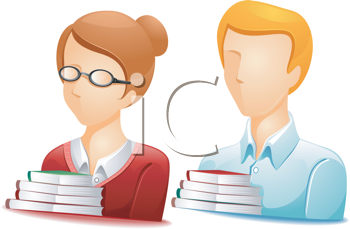 Royalty Free Clipart Image of Two People With Books