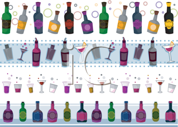Royalty Free Clipart Image of a Set of Borders of Drinks, Beverages and Glasses