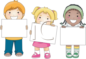 Royalty Free Clipart Image of a Group of Children Holding Blank Signs