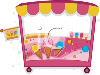 Royalty Free Clipart Image of an Ice Cream Booth