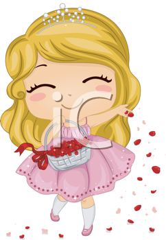 Royalty Free Clipart Image of a Flowergirl