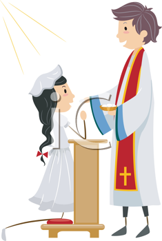 Royalty Free Clipart Image of a Young Girl Taking Communion