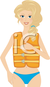 Royalty Free Clipart Image of a Girl Wearing a Life Vest