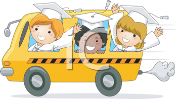 Royalty Free Clipart Image of Little Graduates in a School Bus