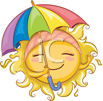 Royalty Free Clipart Image of a Sun Holding an Umbrella