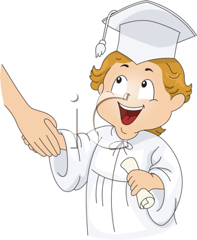 Royalty Free Clipart Image of a Little Graduate Shaking Hands