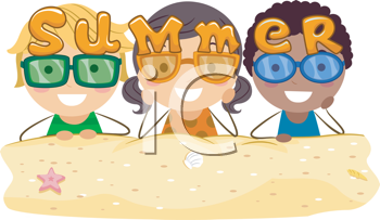 Royalty Free Clipart Image of Three Children With the Word Summer On Them
