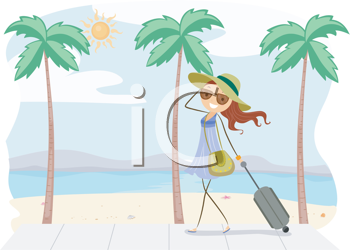 Royalty Free Clipart Image of a Girl on Vacation