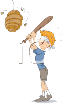 Royalty Free Clipart Image of a Blindfolded Boy With a Bat Swining at a Beehive
