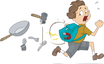 Royalty Free Clipart Image of a Boy With a Magnet in His Backpack Attracting Other Items