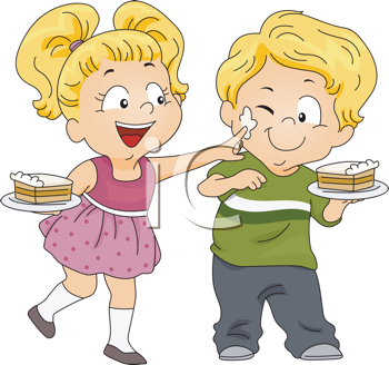 Royalty Free Clipart Image of Children Playing With Icing