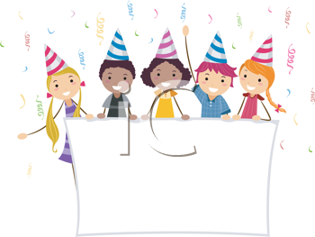 Royalty Free Clipart Image of a Group of Kids Holding a Banner