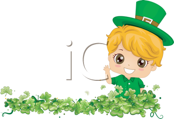 Royalty Free Clipart Image of a Border Design With a Boy in Green Standing in Shamrocks